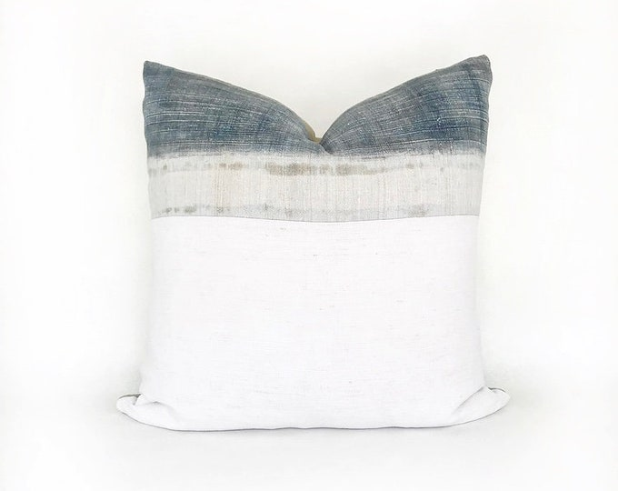 Vintage Hemp Hmong Hill Tribe Batik Textile And Antique French Linen Pillow Cover 22x22