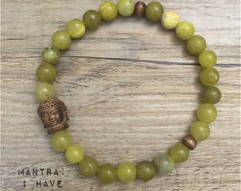Yoga Bead Bracelet | WISDOM: Green Jade • Buddha Mala | BohoChic Stacking Healing Karma Love | Fertility | Luxury Yoga Jewelry