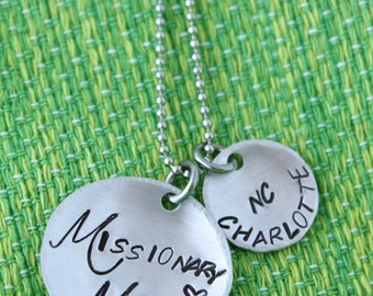 Missionary Mom Necklace - Hand Stamped - Mother's Day - Girlfriend - Sister - Brother - Elder - Mission - City - State - Custom - Missionary