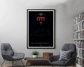 VW Golf GTi Mk6 Poster, VW Golf GTi Mk6 print, Car poster print, Volkswagen print, Volkswagen Golf, GTi poster, Minimalist car poster