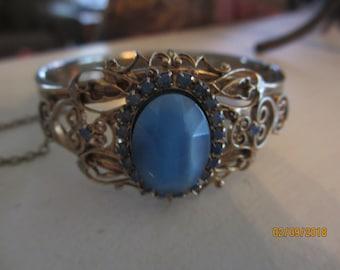 Rare Unique Mid Century Vintage Cuff Bracelet, Vintage Blue Gem Scroll Cuff Bracelet, Beautiful Vintage Bridal Something Old Gift