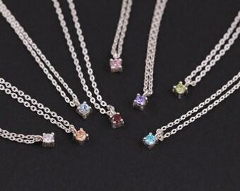 2mm Tiny CZ Necklace, Sterling Silver Necklace, Cubic zirconia necklace, Dainty cz Necklace, Silver Solitaire Necklace, Silver Choker, Gift