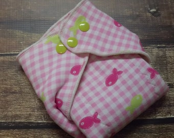 Organic Cotton Winged Prefold Cloth Diaper Pink Gingham Fish