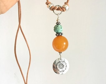 Necklace. Antique Amber. Turquoise. Sterling Silver Chakra Coin.