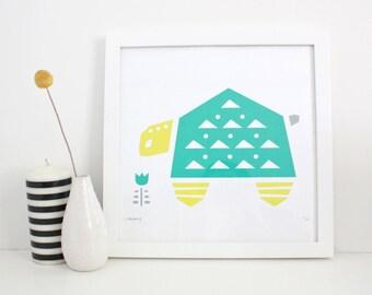 Playroom Art, Turtle Print, Nursery Art