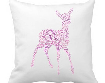 Personalized Baby Deer Doe 20 x 20 Throw Pillow Cover Room Decor