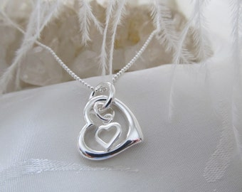 D. Kirkup Designs Sterling Silver Hearts Entwined Necklace
