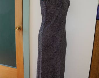 80s Black & Silver Stretch-Knit Sparkle Maxi Dress Sleeveless Mock Turtleneck TeJo of California Metallic Lurex