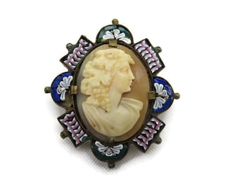 Cameo Brooch - Carved Shell, Micro Mosaic Frame, Bacchante, 1900s