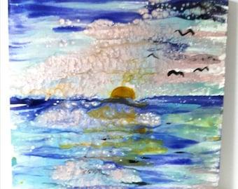 Landscape painting, Seascape painting, Art on wood, Home decor