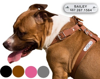 Dog Harness Leather Free PERSONALIZED ID TAG Adjustable for Puppy Small Medium Large Breeds Black Brown