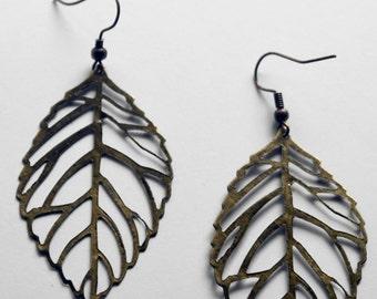 Leaf Earrings - Antiqued Brass 50mm x 30mm