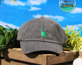 Green Brontosaurus Dinosaur Hat Embroidered Baseball Hat, Cute Dinosaur Hat, Brontosaurus Hat, Choose Your Own Color Hat, Dad Hat