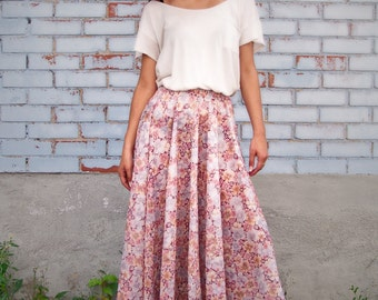 Circular semi-sheer floral skirt