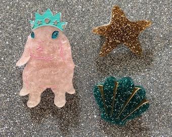 Mini Mermaid Princess Bunny Brooch Set of Three - Pink