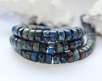Azurite, Radform, gemstones, continuous ware, 6 x 3 mm