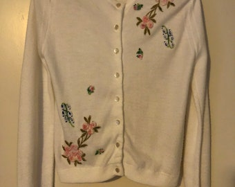"""1950s """"Spuncraft"""" Orlon cardigan with floral, pearl, and rhinestone details"""