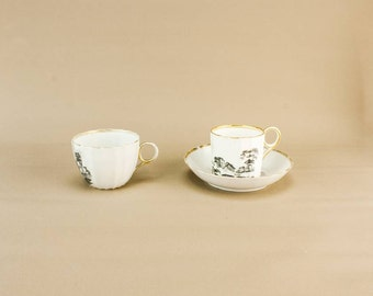 Black & White Teacup Coffee Cup Set Saucer Landscape Georgian Neo-Classical English 1830s
