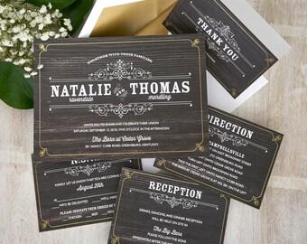 Helena Vintage Wedding Invitation - Rustic. Woodgrain, Chalkboard, Black,Blue,Gray,Green,Tan, Vintage,typography, foil frame - AV4255