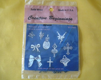 ship free 10  brass charms Creative Beginnings Gold Plated Over Solid Brass