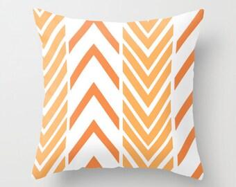 Orange Throw Pillow Cover Includes Pillow Insert - Orange Arrows - Original Art - Orange and White - Made to Order