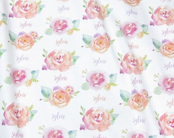 Personalized Swaddle Blanket Girl Flowers // Watercolor Floral Swaddle Personalized Baby Girl Name Blanket Organic Baby Girl Swaddle