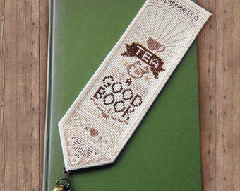 Happiness is Tea & a Good Book Cross Stitch Pattern - Instant Download PDF - Vintage Inspired Bookmark