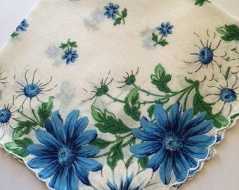 Vintage Hankie Handkerchief Blue and White Daisy Floral Design