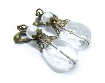 Clear Glass Drops Antique Brass Clip-On Earrings
