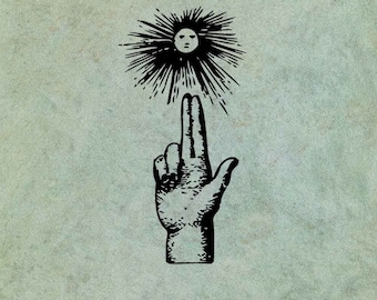 Hand Pointing to Sun - Antique Style Clear Stamp