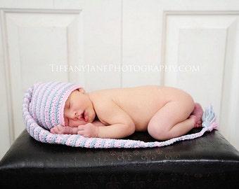 Newborn elf hat pink and grey striped