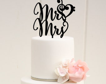 Mr and Mrs Wedding Cake Topper, Music Note Heart Cake Topper, Treble and Bass Clef Cake Topper, Wedding Cake Topper with Music Note