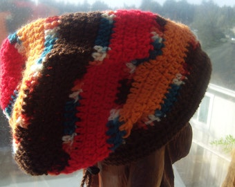 Rasta Hat - Southwest Retro Brown, Tangerine, Red and Teal  Dreadlock Tam - Hippie Slouchy Beanie