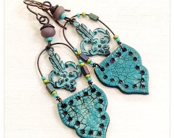 Turquoise boho earrings - polymer clay earrings - purple and turquoise - artisan earrings