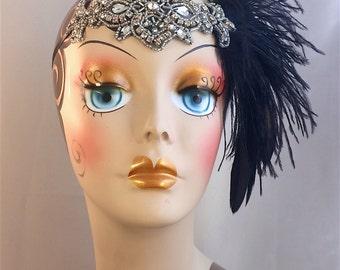 Flapper Feather Black Rhinestone Headband Great Gatsby 1920s Flapper Wedding Flapper Girl Headband Dance Costume Headband Headpiece
