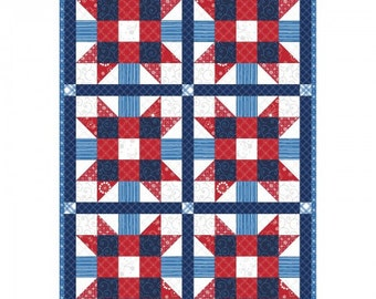"Sister's Choice Red, White and Blue Pre-cut Quilt Kit by Kimberbell Basics, finished size is 32"" x 47"", by Maywood Studio"