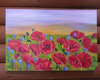 Poppy field , Poppies , Red poppies painting , one of a kind ,24X36 ,  painting on canvas
