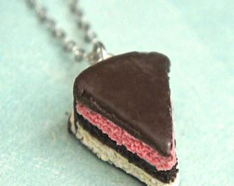 neapolitan cake necklace- miniature food jewelry, cake necklace