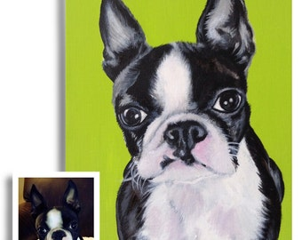 11x14 custom dog portrait on canvas from photo acrylic original Boston terrier art great mother's day gift for pet lover