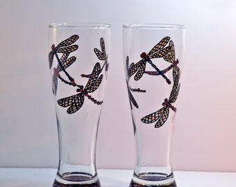 Dragonfly Gifts, Dragonfly Glasses, Hand Painted Glass, Dragonfly Art, Dragonflies, Stained Glass Dragonfly, Beer Glasses, Beer Pilsners