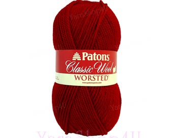 BRIGHT RED Patons Classic Wool yarn, Red Felting yarn medium worsted weight pure wool yarn Feltable Red yarn wool 3.5 oz 100g 210yds √
