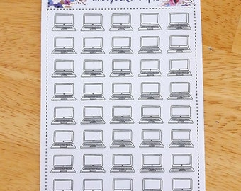 Doodle Laptop Planner Stickers: Perfect for any size planner!