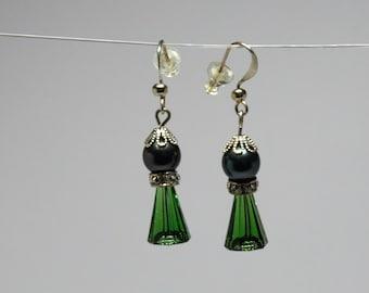 Moss Green Artemis Swarovski Crystal and Pearl Drop Earrings