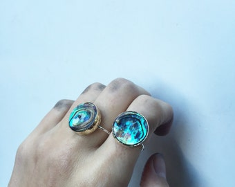 Abalone gold silver ring