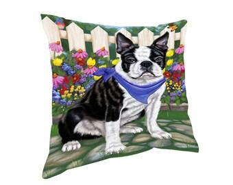 Spring Floral Boston Terrier Dog Throw Pillow
