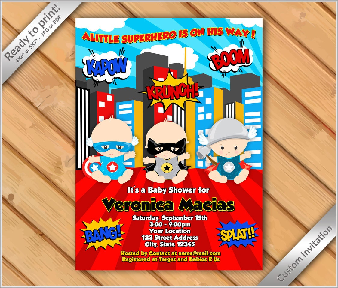 Unique Superhero Baby Shower Invites Images - Invitations and ...