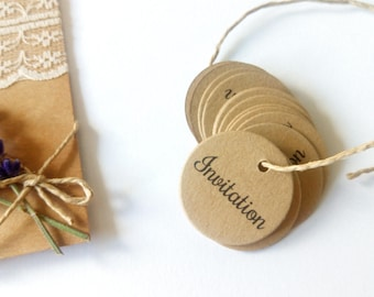 """10 round tags punched kraft """"Invitation"""" or personalized message"""