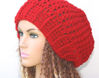 Slouchy beanie, holly berry red beanie hat, Baggy Hipster Hat, small slouch tam, woman Slouchy red beanie, Handmade Crochet hat, women hat,