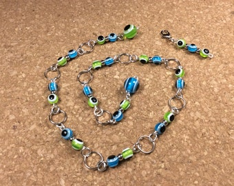 Row Counter - Number Row Counter for knitting or crochet - Counts to 100 - green and blue - stitch marker - stitch saver - 11 us