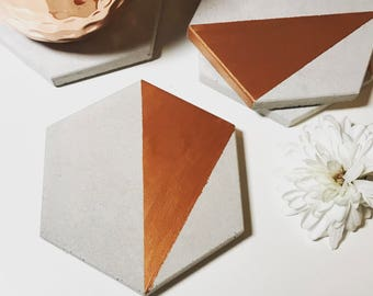 Copper Abstract Concrete Hexagon Coasters Industrial Geometric